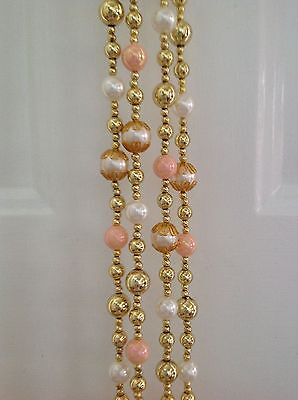 Beaded Ornate Gold/Cream Pearl/Pink Colored Christmas Tree 20' Garland-Victorian