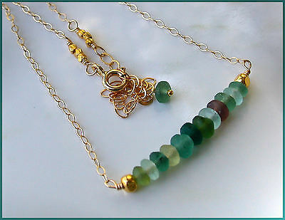 *PI*ANCIENT 2000 YEAR OLD ROMAN GLASS Hill Tribe VERMEIL chain Neck! sundance