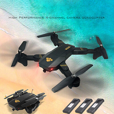 VISUO XS809HW RC Quadcopter Wifi FPV Foldable Selfie Drone 2MP Camera +3 Battery