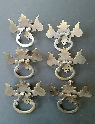 "6 antique Chipendale drawer handles w. ornate ring pulls 3 1/8"""" #Z26"
