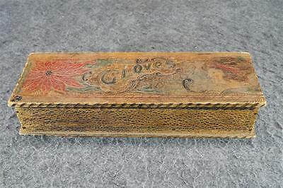 Vintage Gloves Box With Hinged Top Hand-Painted
