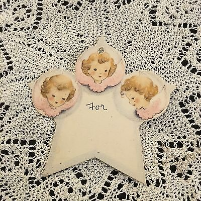 Vintage Greeting Mini Gift Card Tag Christmas Cute Angels Pink Wings Norcross