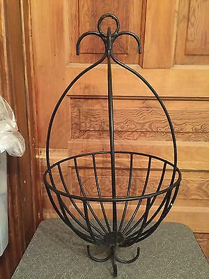 Vintage Large Black Wrought Iron Egg Shaped Hanging Basket Flower Cage C