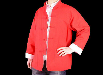 Fine Linen Red Kung Fu Martial Arts Tai Chi Jacket Coat XS-XL Custom Made