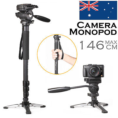Travel Camera Monopod Tripod with Fluid Video Pan Head Unipod Holder for DSLR DV