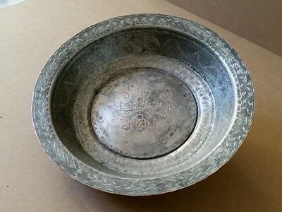 GENUINE OTTOMAN ERA COPPER BOWL-PLATE ORNATE HAND FORGED-ENGRAVED XIXc. D=22cm.