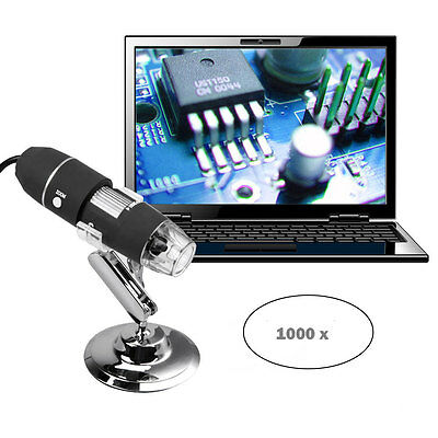 1000X 8-LED Zoom Digital USB Microscope Magnifier Endoscope Camera Video + Stand