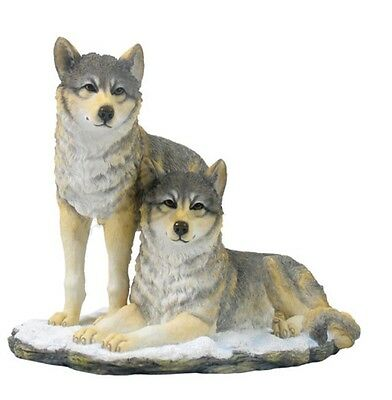 """9.25"""" Wolf Pack Nature Wildlife Animal Statue Collectible Wild Wolves"""