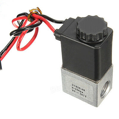 """1/4"""" 2 Way 12V DC Normally Closed Pneumatic Aluminum Electric Solenoid Air Valve"""