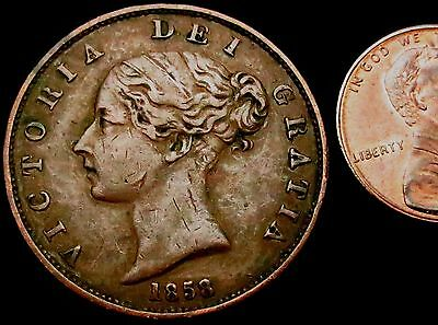 a5: 1858 over 6 Queen Victoria Large Copper Half Penny