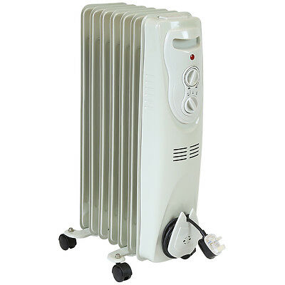 Charles Bentley Portable Oil Filled Electric Radiator 900w / 1500w Thermostat