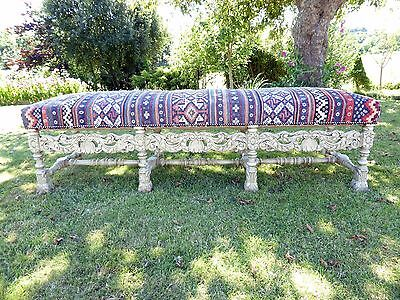 Large Ornate Painted Stool Length 5Ft 6 Aztec Carpet Upholstery  Free Shipping