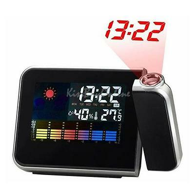LED Digital Weather Temperature Humidity Wall Projection Clock Alarm Calendar