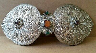 Antique LARGE Ottoman HANDforged silver alloy belt buckle &hand grinding carneol