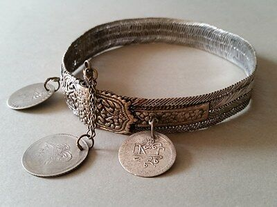 "GORGEOUS ANTIQUE OTTOMAN SILVER hand-knitted NECKLACE ""BITCH"" with silver coins"