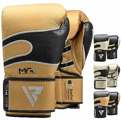 RDX Leather Boxing Gloves Muay Thai Kickboxing Sparring Training MMA Punch Bag K