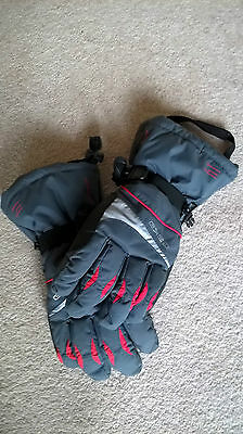 Womens girls grey red ski gloves