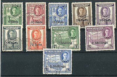 Somaliland KGVI 1951 new currency short set to 2s on 3r SG125/34 used