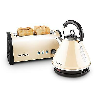 Klarstein Stainless Steel Kettle1.7 L Toaster Set 4 Slice Bread Slot