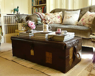 OLD PINE BOX Antique Pine Chest COFFEE TABLE Vintage Woooden Trunk Rope Handles