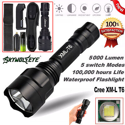 5000Lm Tactical XM-L T6 LED Flashlight X800 G700 Torch Lamp +Battery Charger Kit