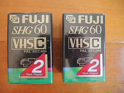 Fuji SHG 60 PAL Seacm VHS C Compact video recorder tapes X4 BRAND NEW SEALED