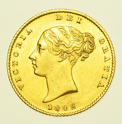 1842 Half Sovereign British Gold Coin From Victoria V Ef