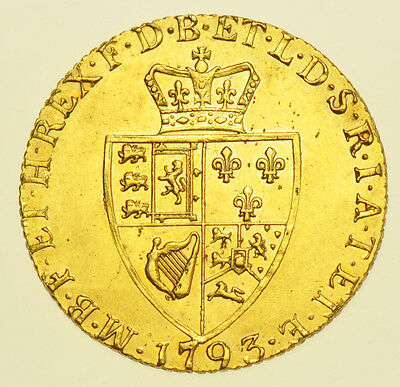 1793 Guinea British Gold Coin From George Iii Ef