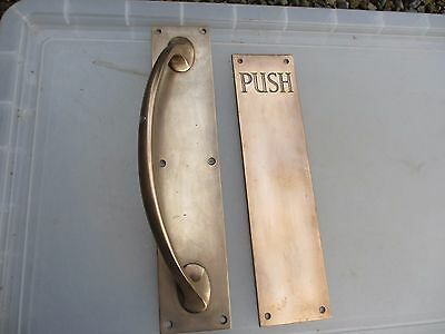 Antique Bronze Door Handle Pulls Set Finger Push Plate Shop Vintage Edwardian