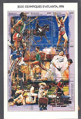 Central African Republic 1996 Summer Olympics Sports Sheet Of 9