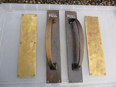 "Antique Bronze Door Handles Pulls Set Finger Push Plates Shop ""Leggott's"" Brass"