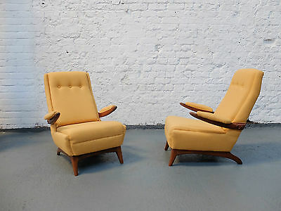 Midcentury Teak Afromosia Upholstered Lounge Arm Chairs Circa 1950s (20C788)