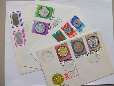 Seven COIN on stamps covers:fdc special cancel,registered