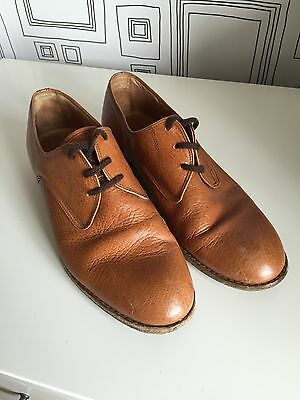 Vintage Brown Round Toe Derby Men's Shoes Size 8 Leather