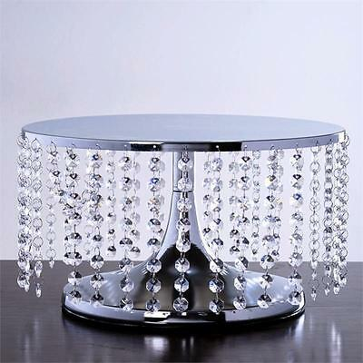 """SILVER METAL 7.5"""" tall Cake Stand with Crystal Pendants Party Wedding Reception"""