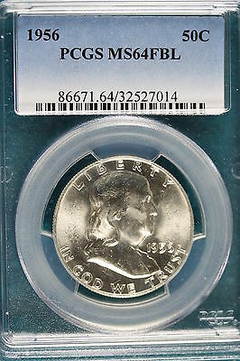 1956-P PCGS MS64 FULL BELL LINES  Franklin Half Dollar!! #A4795