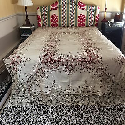 """VINTAGE LACE TABLECLOTH EMBROIDERED Linen Cream 105"""" x 64 RARE.SUPERB."""
