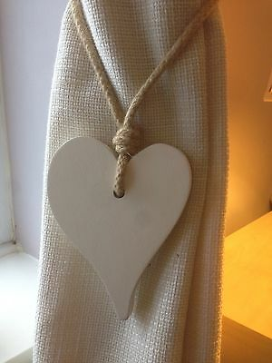Pair Of Handmade Wooden Offset Heart Curtain Tie Backs Antique White Chic Finish