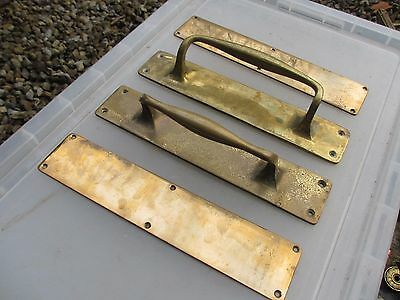 Antique Brass Door Handles Pulls Set Bronze Finger Push Plates Shop Vintage Old