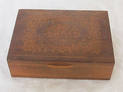 Antique Small WOOD Dresser JEWELRY BOX with VICTORIAN Flower Inlay