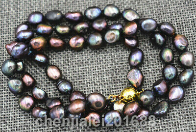 """8-9MM black Akoya freshwater Cultured Pearl Baroque Necklace 18"""""""