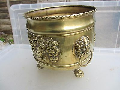 Antique Brass Planter Plant Pot Tub Trough Lion Head Handles Vintage Grape Leaf