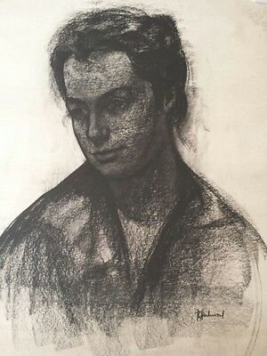 Mid 20th century drawing of a woman's face, signed. Belgian work