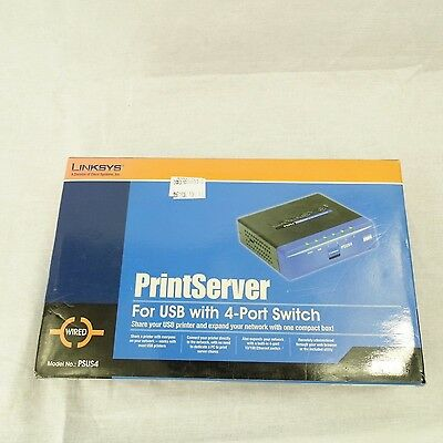 Cisco-Linksys PSUS4 PrintServer for USB with 4 Port Switch