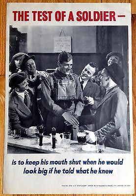 Original The Test Of A Soldier Is To Keep His Mouth Shut  WWII Poster