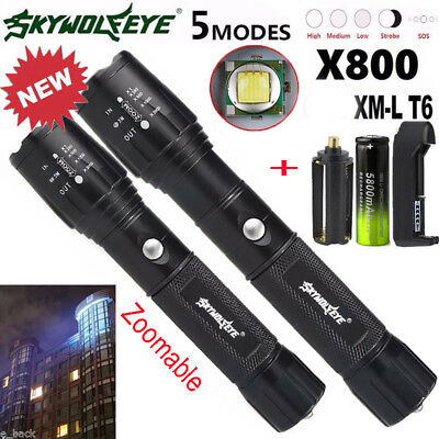 Zoomable Tactical 30000LM T6 LED Flashlight Lamp Torch/&18650/&batteryCharger/&Case