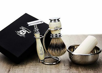 5 PIECES SHAVING SET.(Sliver Tip Hair,DE Safety Razor,Stand & Soap)PERFECT GIFT