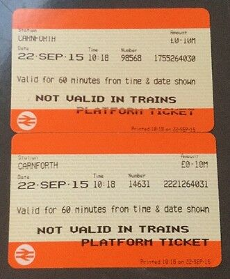 PLATFORM TICKETS - 2 Current Styles From CARNFORTH 30 & 31