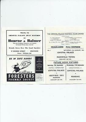 Crystal Palace v Mansfield Town Football Programmes 1963/64