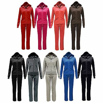 Womens Velour Full Tracksuit Set Joggers Zip Hoodie Jacket Lounge Sports Size